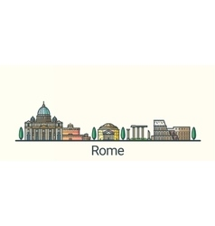 Flat line Rome banner vector image