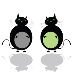 Funny two black cat vector
