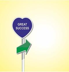 Great success heart signpost of directional arrow vector