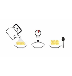 Instructions cooked quick-cooking pasta pour vector