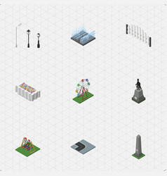 Isometric architecture set of street lanterns vector