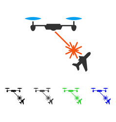 Laser drone attacks airplane flat icon vector