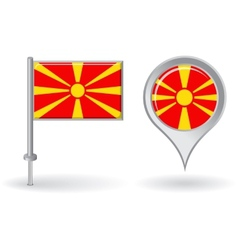 Macedonian pin icon and map pointer flag vector