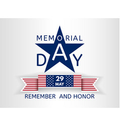 Memorial day with a blue star and ribbon usa flag vector
