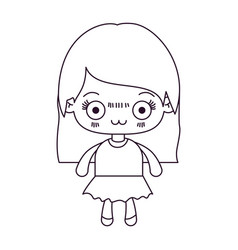 Monochrome silhouette of kawaii cute little girl vector