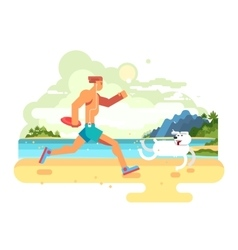 Morning jog on beach with dog vector image vector image