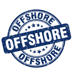 Offshore blue grunge stamp vector