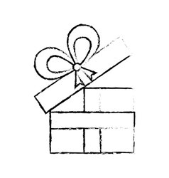 open gift box ribbon anniversary decorative sketch vector image vector image