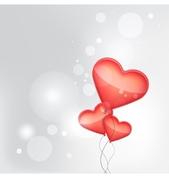 red balloons made of hearts background vector image vector image