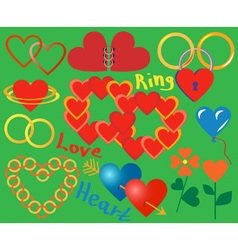 Ring and heart collection vector