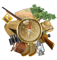 Safari Concept with Compass vector image vector image