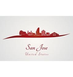 San jose skyline in red vector