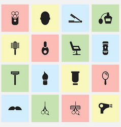 Set of 16 editable coiffeur icons includes vector