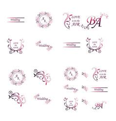 Set of decorative calligraphic elements floral vector