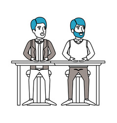 Silhouette color sections of men sitting in desk vector