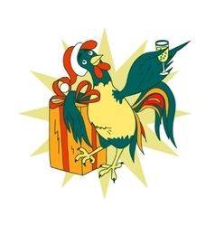 Smart cock with a glass of champagne and a gift vector image