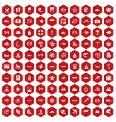 100 sea life icons hexagon red vector