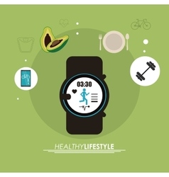Watch weight smartphone icon healthy lifestyle vector