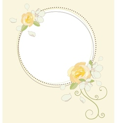 Yellow rose and apple flowers beautiful round vector