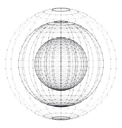 Wireframe polygonal element 3D sphere with vector image