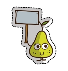 Pear fruit character comic icon vector