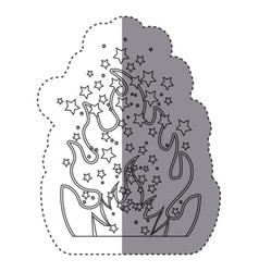 sticker silhouette fire flame burning vector image
