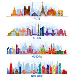 architecture paris berlin moscow and new york vector image