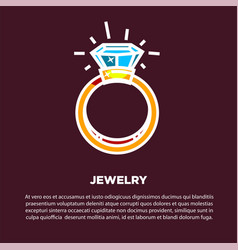 Jewelry golden diamond wedding ring poster vector