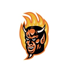 Demon devil horns fire retro vector
