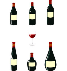 Red wine bottles pack vector