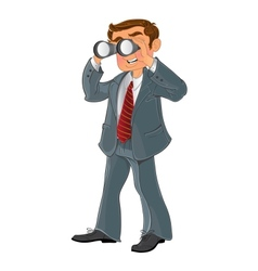Businessman with binoculars look on money vector