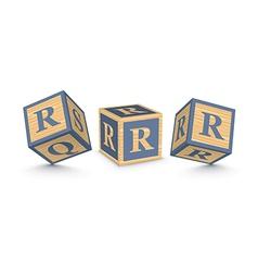 letter R wooden alphabet blocks vector image