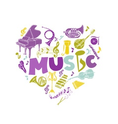 Colorful card with music instruments - hand drawn vector