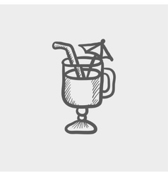 Cold ice tea with strw sketch icon vector