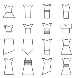 Women clothing icons set vector