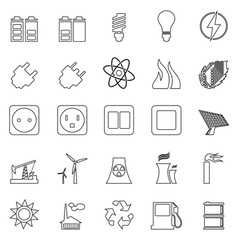 Electricity Power and Energy Icon Set vector image