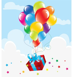 bunch of colorful balloons and a gift vector image