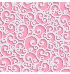 Pink 3d floral damask seamless pattern vector