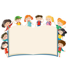 Background template with kids around book vector