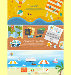 Beach Holidays in Flat Design Detailed Web Banners vector image