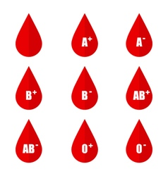 Blood types icons isolated on white background vector