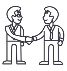 businessmen handshakepartnership line icon vector image