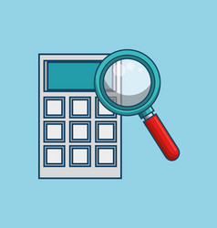 Calculator and magnifying glass icon vector