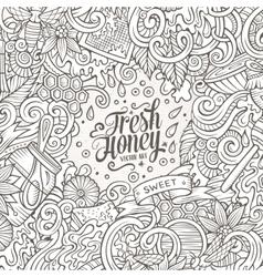Cartoon doodles Honey frame design vector image vector image