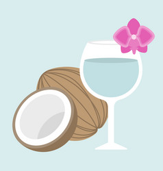 Coconut juice with orchid vector