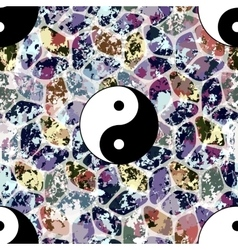 Colorful seamless pattern with Yin and Yang symbol vector image vector image