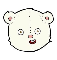 Comic cartoon polar teddy bear head vector