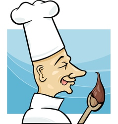 cook with chocolate cream cartoon vector image vector image