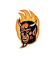 Demon devil horns fire retro vector