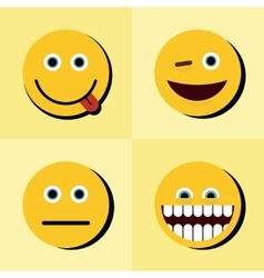 Emoji emoticons icons on yellow background with vector image vector image